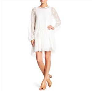 JOHNNY WAS Lace Long Sleeve Hi Low Dress